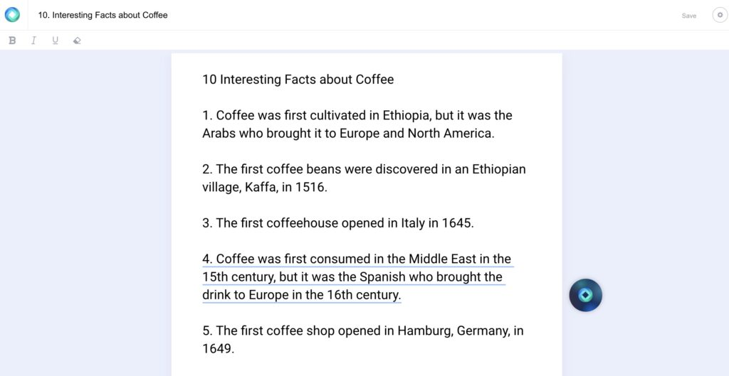 ai assisted writing tool pulling facts about coffee