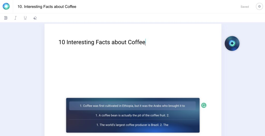 ai assisted writing tool providing facts to use in a piece about coffee